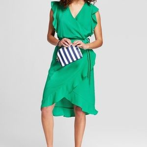 A New Day short sleeve ruffle wrap dress